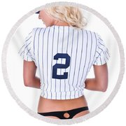 Baseball Girl 2 Round Beach Towel