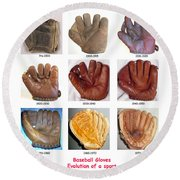 Baseball Glove Evolution Round Beach Towel