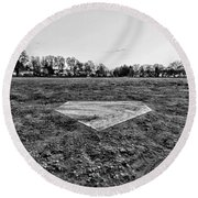 Baseball - Home Plate - Black And White Round Beach Towel by Paul Ward