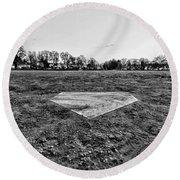 Baseball - Home Plate - Black And White Round Beach Towel