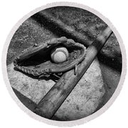 Baseball Home Plate In Black And White Round Beach Towel by Paul Ward