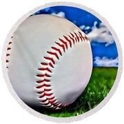 Baseball In The Grass Round Beach Towel