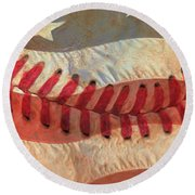 Baseball Is Sewn Into The Fabric Round Beach Towel by Heidi Smith
