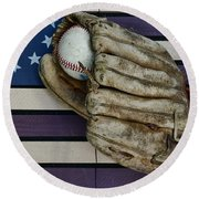 Baseball Mitt On American Flag Folk Art Round Beach Towel