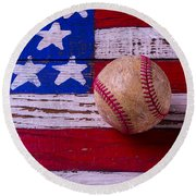 Baseball On American Flag Round Beach Towel