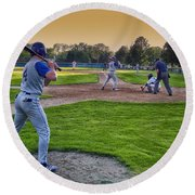 Baseball On Deck Circle Round Beach Towel
