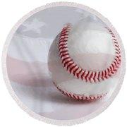 Baseball - Painterly Round Beach Towel by Heidi Smith
