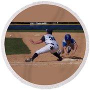 Baseball Pick Off Attempt Round Beach Towel