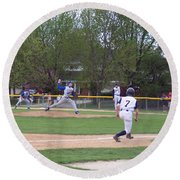 Baseball Pitcher The Delivery Round Beach Towel