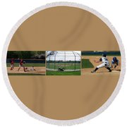 Baseball Playing Hard 3 Panel Composite 01 Round Beach Towel