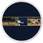 Baseball Playing Hard 3 Panel Composite 02 Round Beach Towel