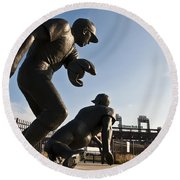 Baseball Statue At Citizens Bank Park Round Beach Towel by Bill Cannon