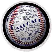 Baseball Terms Typography 1 Round Beach Towel