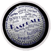 Baseball Terms Typography 2 Round Beach Towel