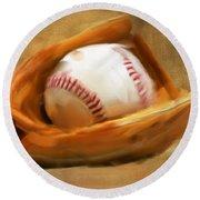 Baseball V Round Beach Towel