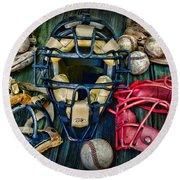 Baseball Vintage Gear Round Beach Towel
