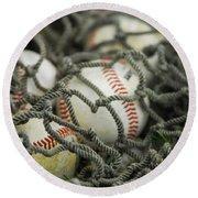 Baseballs And Net Round Beach Towel