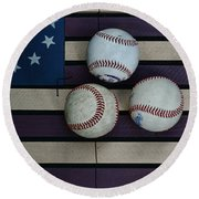 Baseballs On American Flag Folkart Round Beach Towel