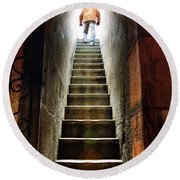 Basement Exit Round Beach Towel by Carlos Caetano