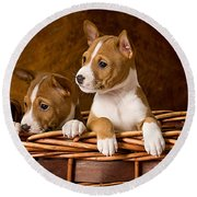 Basenji Puppies Round Beach Towel by Marvin Blaine