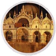 Basilica Di San Marco Round Beach Towel by George Buxbaum