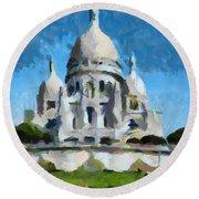 Basilica Sacred Heart- Paris Round Beach Towel