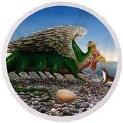 Basilisk, 1986 Oils And Tempera On Paper Round Beach Towel