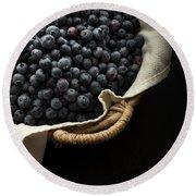 Basket Full Fresh Picked Blueberries Round Beach Towel by Edward Fielding