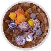 Basket Full Of Seashells Round Beach Towel