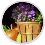 Basket Of Asters With Pumpkin And Gourd Round Beach Towel