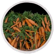 Basket Of Carrots Round Beach Towel