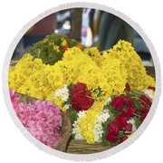 Basket Of Flowers Round Beach Towel