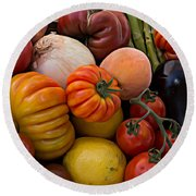 Basket Of Fruits And Vegetables Round Beach Towel