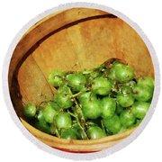 Basket Of Green Grapes Round Beach Towel by Susan Savad