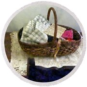 Basket With Cloth And Measuring Tape Round Beach Towel