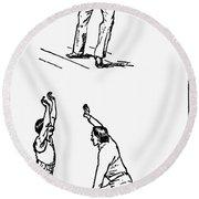 Basketball, 1893 Round Beach Towel