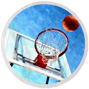 Basketball Hoop And Ball 1 Round Beach Towel