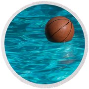 Basketball In The Pool  Round Beach Towel