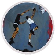 Basketball Players Round Beach Towel