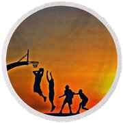 Basketball Sunrise Round Beach Towel