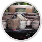 Baskets Of Feed Round Beach Towel