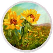 Basking In The Sun Round Beach Towel by Barbara Pirkle