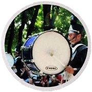 Bass Drums On Parade Round Beach Towel