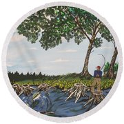 Bass Fishing In The Stumps Round Beach Towel