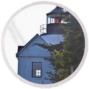 Bass Harbor Headlight Round Beach Towel