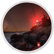 Bass Harbor Lighthouse Milky Way Round Beach Towel
