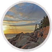 Bass Harbor Lighthouse Sunset Landscape Round Beach Towel
