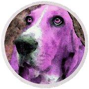 Basset Hound - Pop Art Pink Round Beach Towel