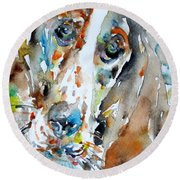Basset Hound - Watercolor Portrait.1 Round Beach Towel