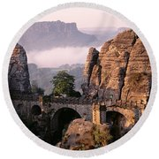 Bastei, Saxonian Switzerland National Round Beach Towel